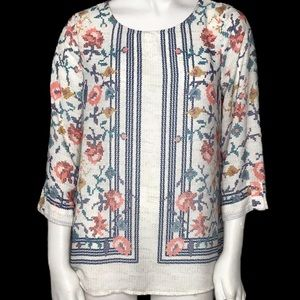 Brixon Ivy Faux Cross Stitch Blouse Small Floral